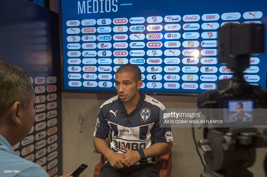 Monterrey's footballer, Uruguayan Walter Gargano, speaks in Monterrey, Mexico on May, 24, 2016, two days ahead of the Mexican Clausura 2016 tournament first leg final football match against Pachuca. / AFP / Julio Cesar Aguilar Fuentes