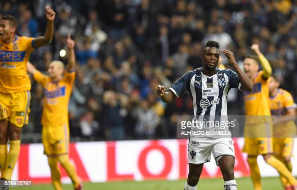 Monterrey's player Aviles Hurtado reacts after failing to score a penalty against Tigres during their final Mexican Apertura 2017 tournament football...