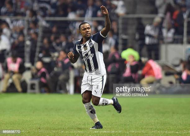 Monterrey's player Dorlan Pabon celebrates after scoring against Tigres during their final Mexican Apertura 2017 tournament football match at the...