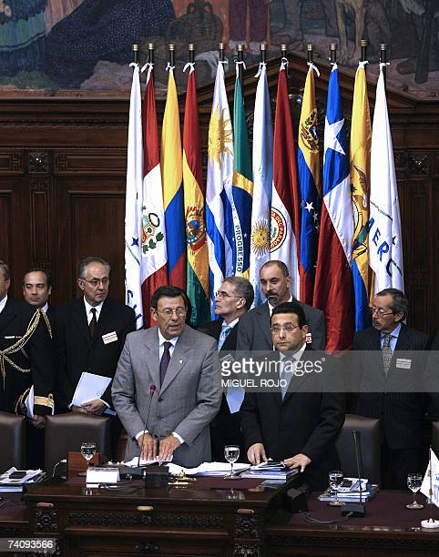 Uruguayan VicePresident Nin Novoa beside Alfonso Gonzalez Nunez President of the Mercosur's Parliament speaks during the opening session of the...