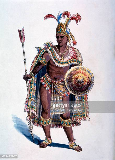 Montezuma Aztec Emperor Watercolor Painting by William L Wells for the Columbian Exposition Pageant 1892