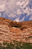 Montezuma Castle National Monument near Camp Verde, Arizona. The cliff dwellings were built and used by the Sinagua people, a pre-Columbian culture closely related to the Hohokam and other indigenous