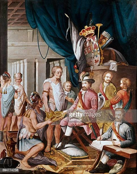Montezuma declares his Allegiance to the King of Spain before Cortes Spanish School Museo de America Madrid Spain