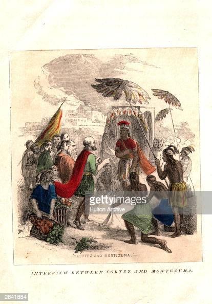 Montezuma II last Aztec emperor who succeeded to the title in 1502 meeting with Hernando Cortez Spanish conquistador and conqueror of Mexico circa...