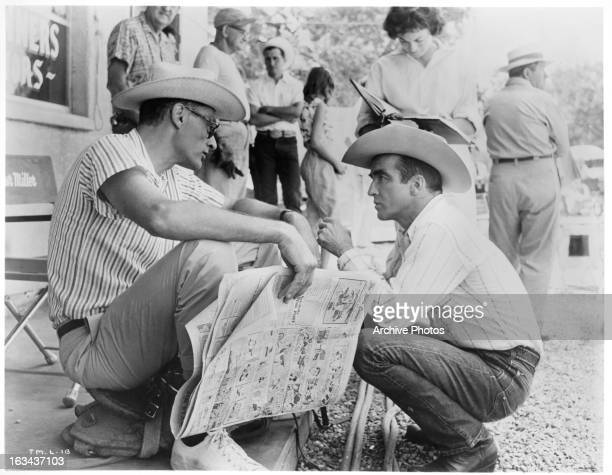 Montgomery Clift conferring on the set with Arthur Miller during the making of the film 'The Misfits' 1961