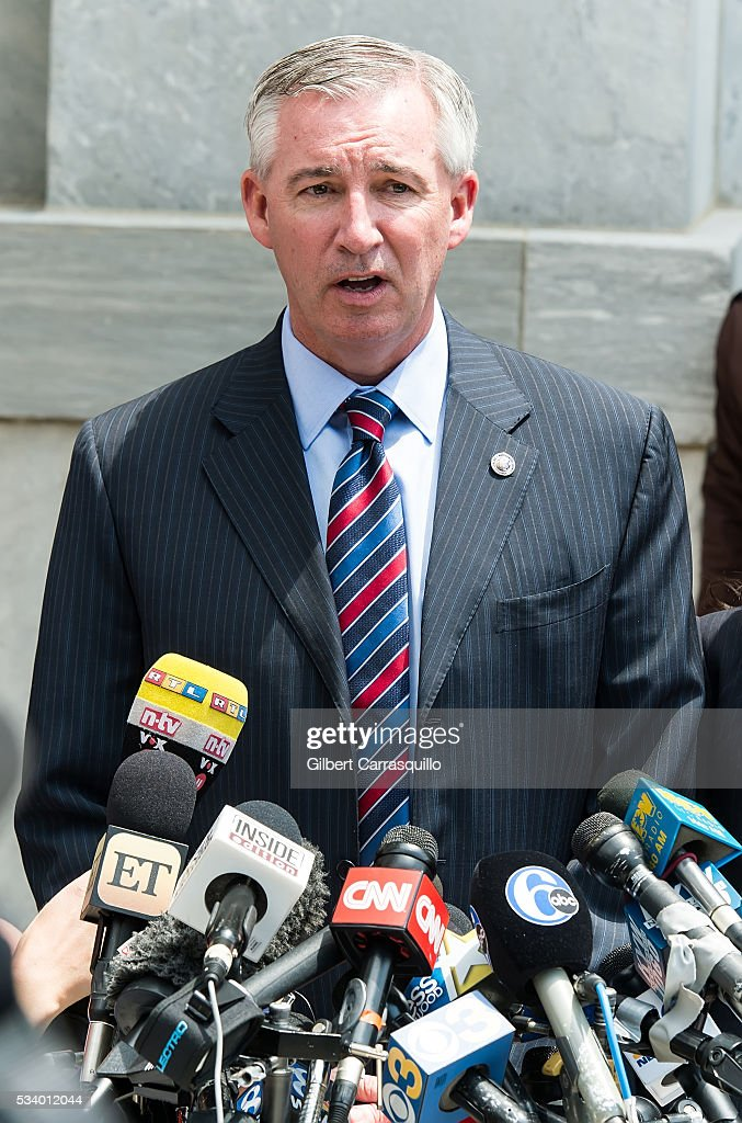 Montgomery County District Attorney Kevin Steele speaks outside the Montgomery County Courthouse on May 24, 2016 in Norristown, Pennsylvania.