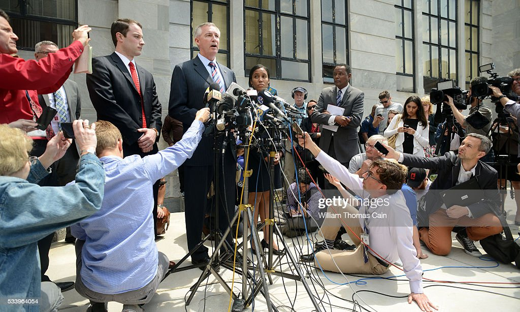 Montgomery County District Attorney Kevin Steele speaks with the media after a Pennsylvania judge ruled that there was enough evidence to proceed with trial for Bill Cosby, on sexual assault charges, May 24, 2016 in at Montgomery County Courthouse in Norristown, Pennsylvania.