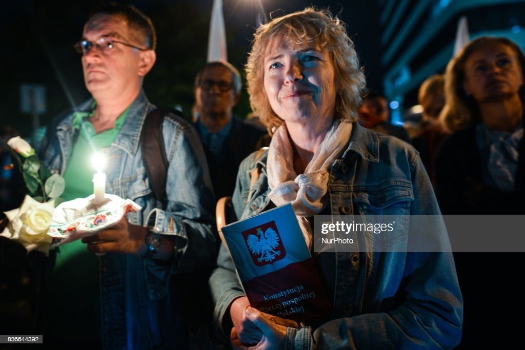 A month after the Polish President's veto around a hundred people gathered in front of Krakow's District Court on Monday evening for another anti-government candle-lit vigil in relation to judicial reforms. On Monday, August 21, 2017, in Krakow, Poland.