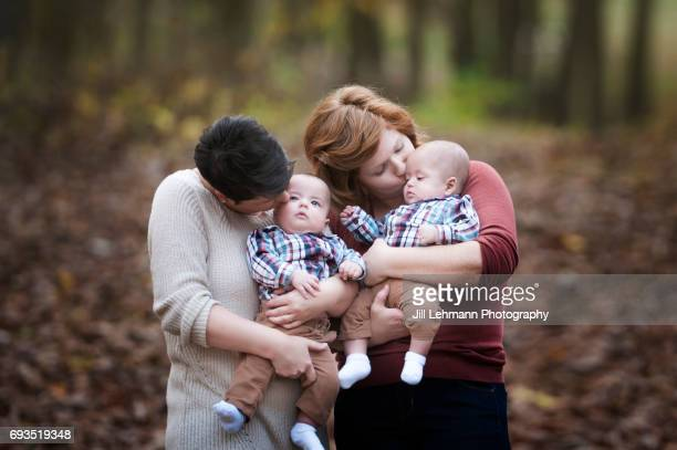 3 Month Fraternal Twins are Held by Lesbian Mothers