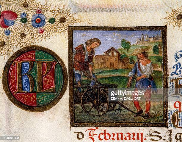 Month of February digging and fertilizing the soil miniature from Ercole I d'Este Brevary lat manuscript CCCCXXIV folio 1 recto parchment 15021506...