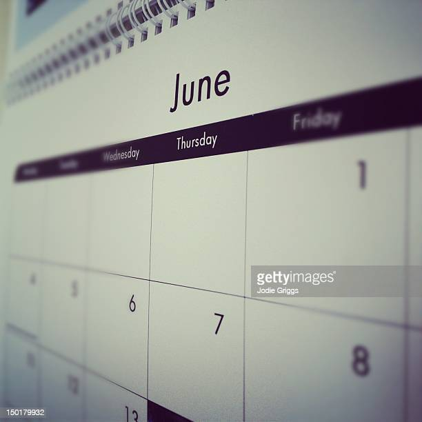Month of June on calendar