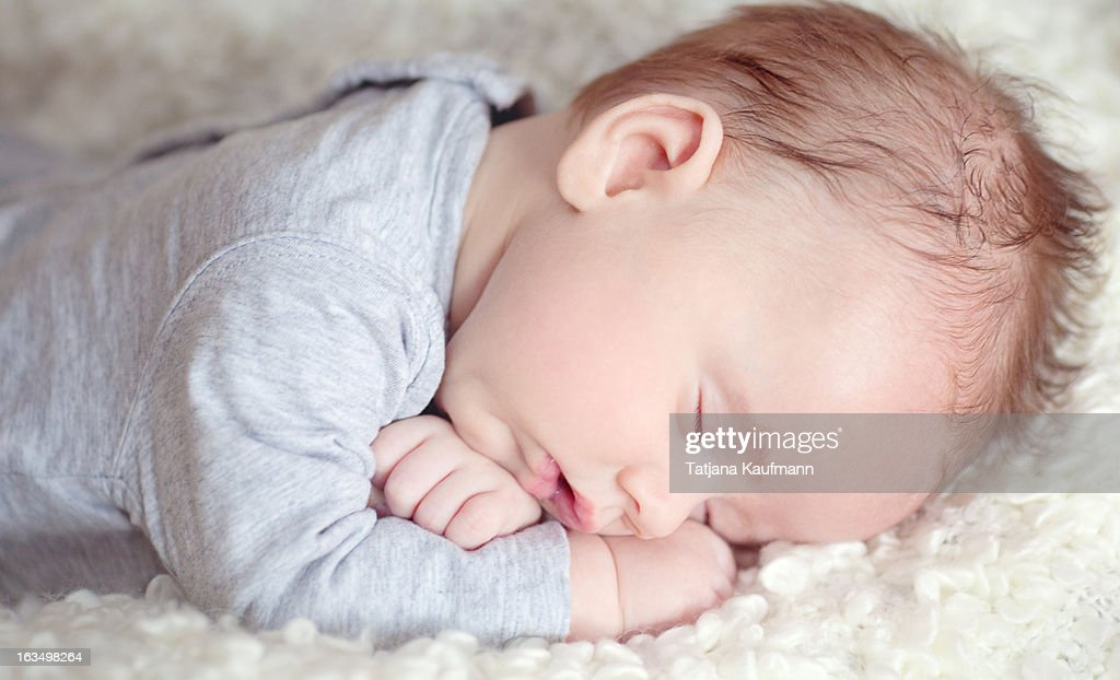 2 Month Old Baby Dreaming : Stock Photo