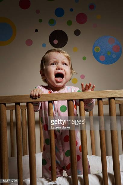 10 Month Old Baby Standing in Crib Crying