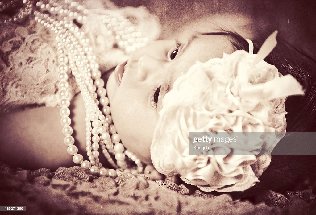 6 Month Old Baby-Vintage Style : Stock Photo