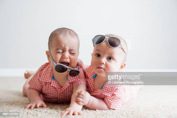 11 month old Fraternal Twin Boys Fight with Each other and Cry