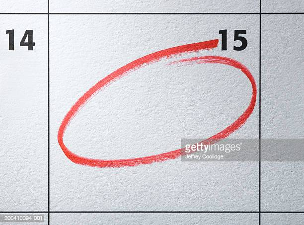 Monthly calendar with day circled in red