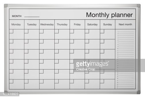 Calendar Planner Board : Monthly planner calendar wipe board stock photo getty images