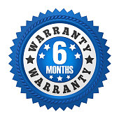 6 Months Warranty Badge solated on white background. 3D render