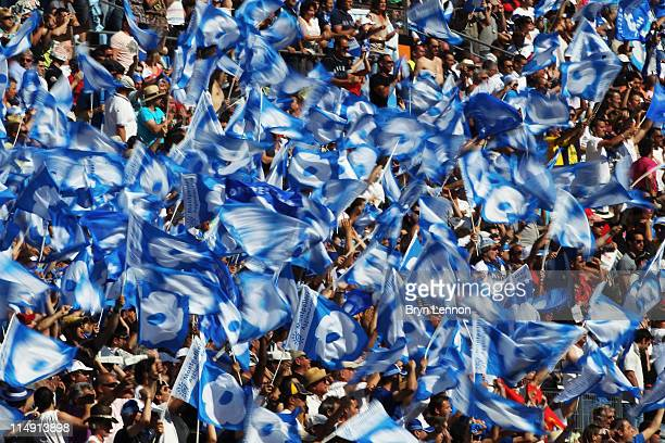 Montpelier Herault Rugby fans celebrate winning the French Top 14 Semi Final between between Racing Metro 92 and Montpellier at the Stade Velodrome...