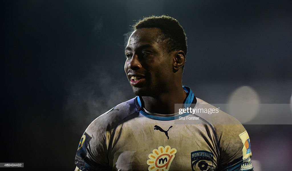 Montpellier captain <a gi-track='captionPersonalityLinkClicked' href=/galleries/search?phrase=Fulgence+Ouedraogo&family=editorial&specificpeople=3958946 ng-click='$event.stopPropagation()'>Fulgence Ouedraogo</a> looks on during the European Rugby Champions Cup pool match between Bath Rugby and Montpellier at Recreation Ground on December 12, 2014 in Bath, England.