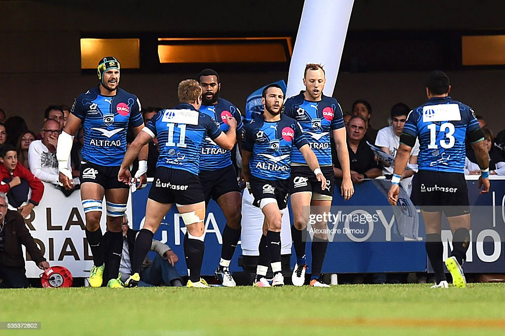 Montpellier celebrates the second try of Jim Nagusa during the rugby Top 14 match between Montpelier and RC Toulon on May 29, 2016 in Montpellier, France.