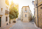 Street view at the old town of Montpellier city in Occitanie region in France