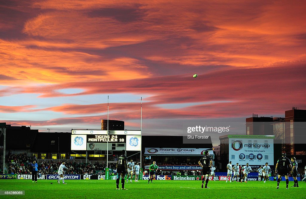 Montpellier flyhalf Francois Trinh-duc kicks at goal as the sunsets over Welford road during the Heineken Cup Pool 5 round 3 match between Leicester Tigers and Montpellier at Welford Road on December 8, 2013 in Leicester, England.