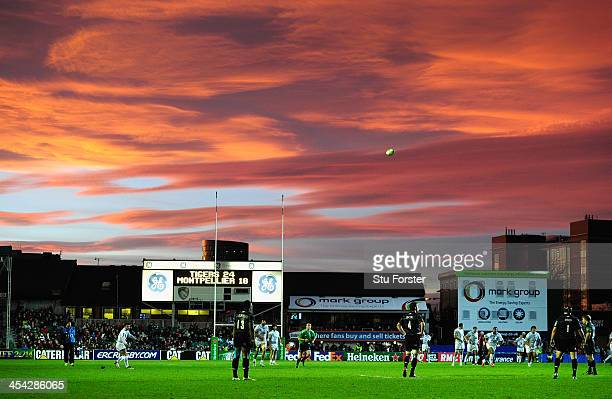 Montpellier flyhalf Francois Trinhduc kicks at goal as the sunsets over Welford road during the Heineken Cup Pool 5 round 3 match between Leicester...