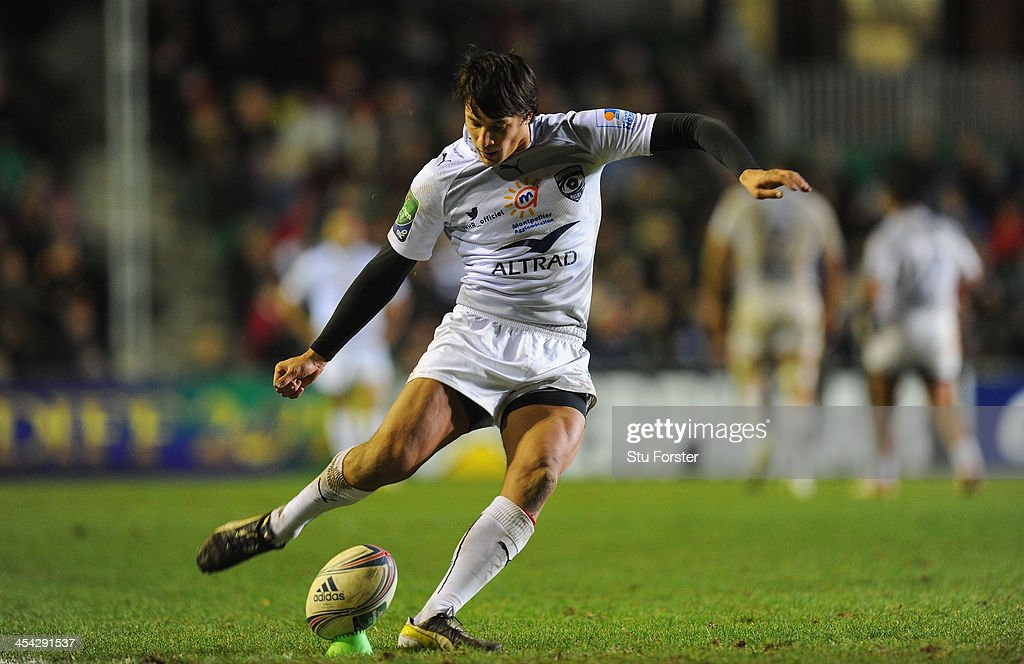 Montpellier flyhalf Francois Trinh-duc kicks at goal during the Heineken Cup Pool 5 round 3 match between Leicester Tigers and Montpellier at Welford Road on December 8, 2013 in Leicester, England.