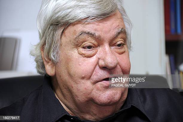 Montpellier L1 football club's president Louis Nicollin answers a journalist's questions on August 14 2012 at his office in the SaintGabriel country...