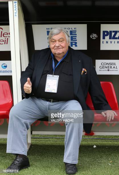 Montpellier L1 football club's president Louis Nicollin reacts during the French L1 football match Nice versus Montpellier on March 10 2013 at the...
