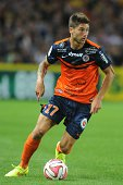 Montpellier midfielder Paul Lasne plays on August 30 2014 during a French L1 football match against Nantes at the Beaujoire stadium in the western...