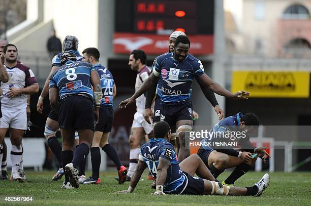 Montpellier players celebrate after scoring a try on January 31 2015 during a French Top 14 rugby union match between Montpellier and Union...