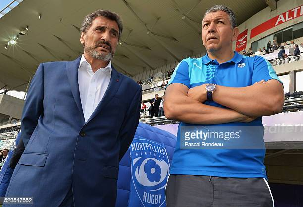 Montpellier president Mohed Altrad with Abdelatif Benazzi before the game between Montpellier Herault Rugby v Newport Gwent Dragons at Altrad Stadium...