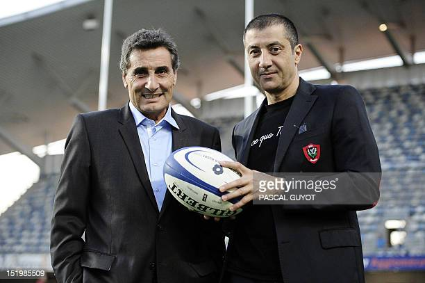 Montpellier rugby club president Mohed Altrad and Toulon rugby club president Mourad Boudjellal pose for photographers before the French Top 14 rugby...
