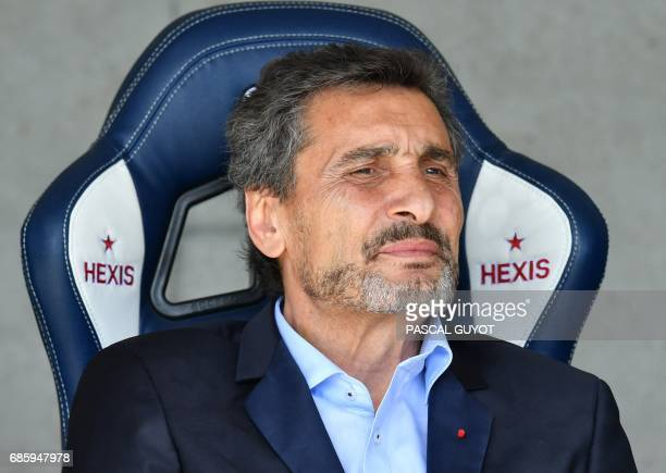 Montpellier rugby club president Mohed Altrad looks on prior to the French Top 14 rugby union match between Montpellier and Racing 92 on May 20 2017...
