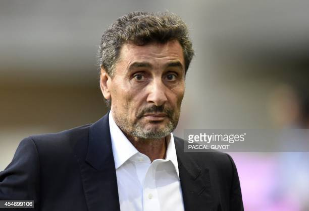 Montpellier rugby club president Mohed Altrad waits for the beginning of the French top 14 rugby union match Montpellier vs Castres at the Altrad...