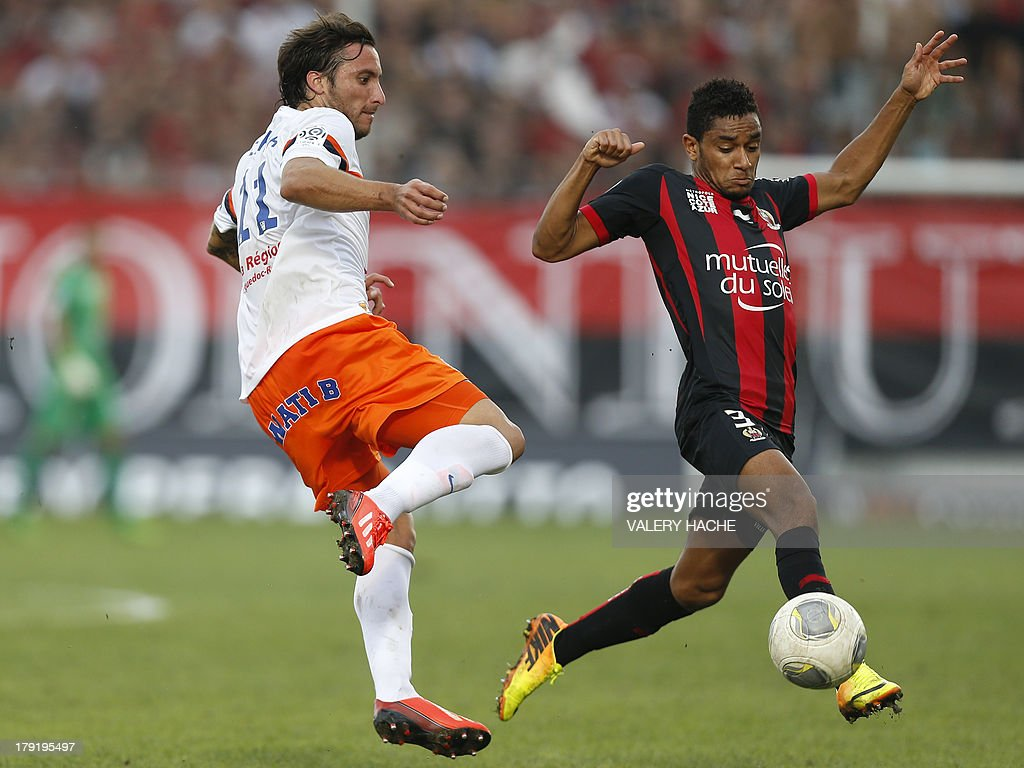 Montpellier's Argentinian forward Emmanuel Herrera (L) vies with Nice's Jordan Amavi (R) during the French L1 football match between Nice and Montpellier on September 1, 2013 at the Ray stadium in Nice, southeastern France.