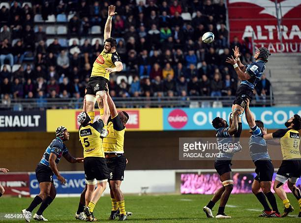 Montpellier's Ben Mowen grabs the ball in a line out during the French Top 14 rugby union match between Montpellier and La Rochelle on March 7 2015...