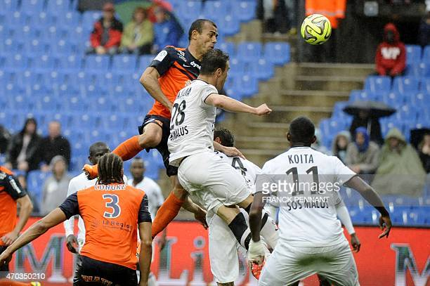 Montpelliers Brazilian defender Vitorino Hilton kicks the ball during the French L1 football match between Montpellier and Caen on April 19 2015 at...