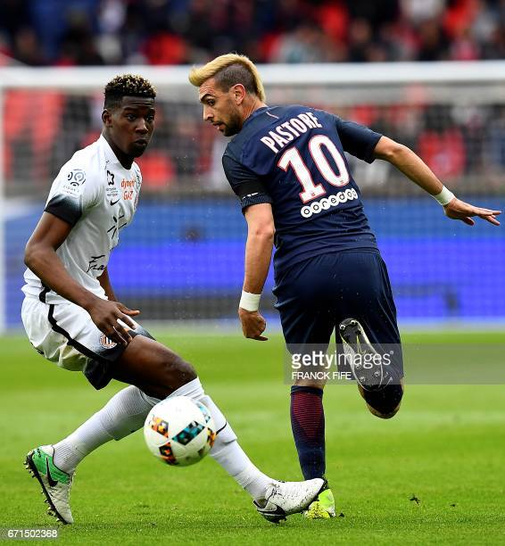 Montpellier's Brazilian midfielder Nodi Mukule vies with Paris SaintGermain's Argentinian forward Javier Pastore during the French L1 football match...