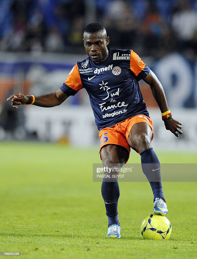 Montpellier's Cameroonian defender Henri Bedimo controls the ball during the French L1 football match Montpellier vs Brest on May 4, 2013 at the Mosson stadium in Montpellier, southern France.
