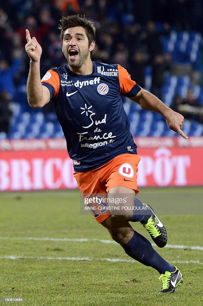 Montpellier's Chilean midfielder Marco Estrada celebrates after scoring a goal during a French L1 football match between Montpellier and Reims on February 3, 2013 at the Mosson stadium in Montpellier, southern France.