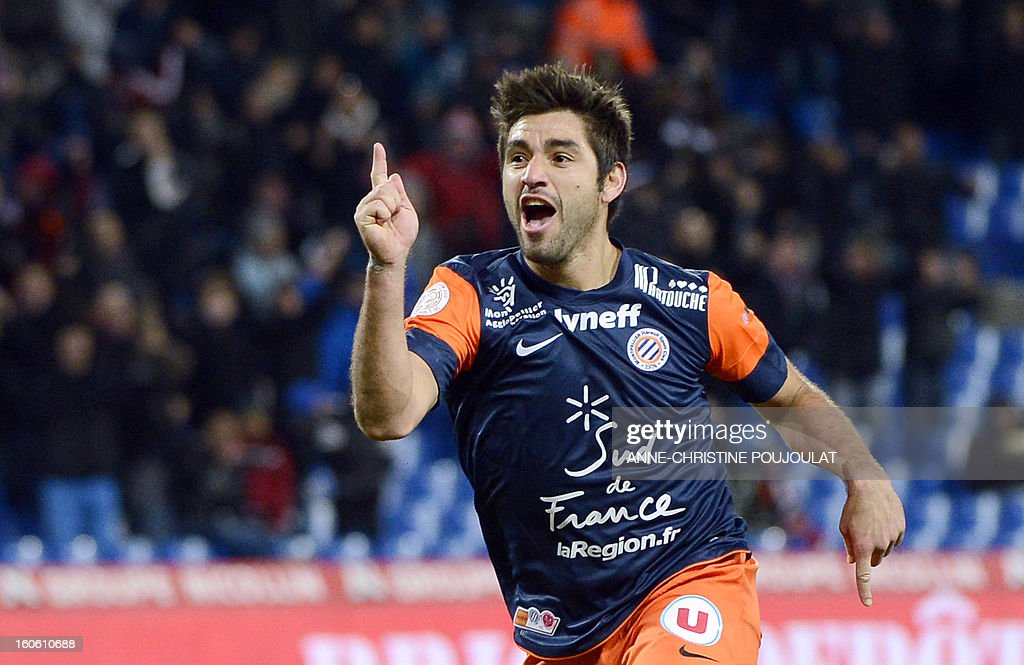 Montpellier's Chilean midfielder Marco Estrada celebrates after scoring a goal during a French L1 football match between Montpellier and Reims on February 3, 2013 at the Mosson stadium in Montpellier, southern France. AFP PHOTO / ANNE-CHRISTINE POUJOULAT