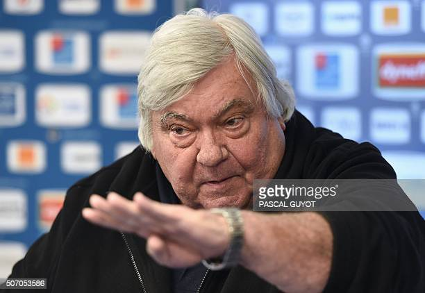 Montpellier's club president Louis Nicollin answers to journalists' questions during a press conference at the Grammont Stadium in the southern...