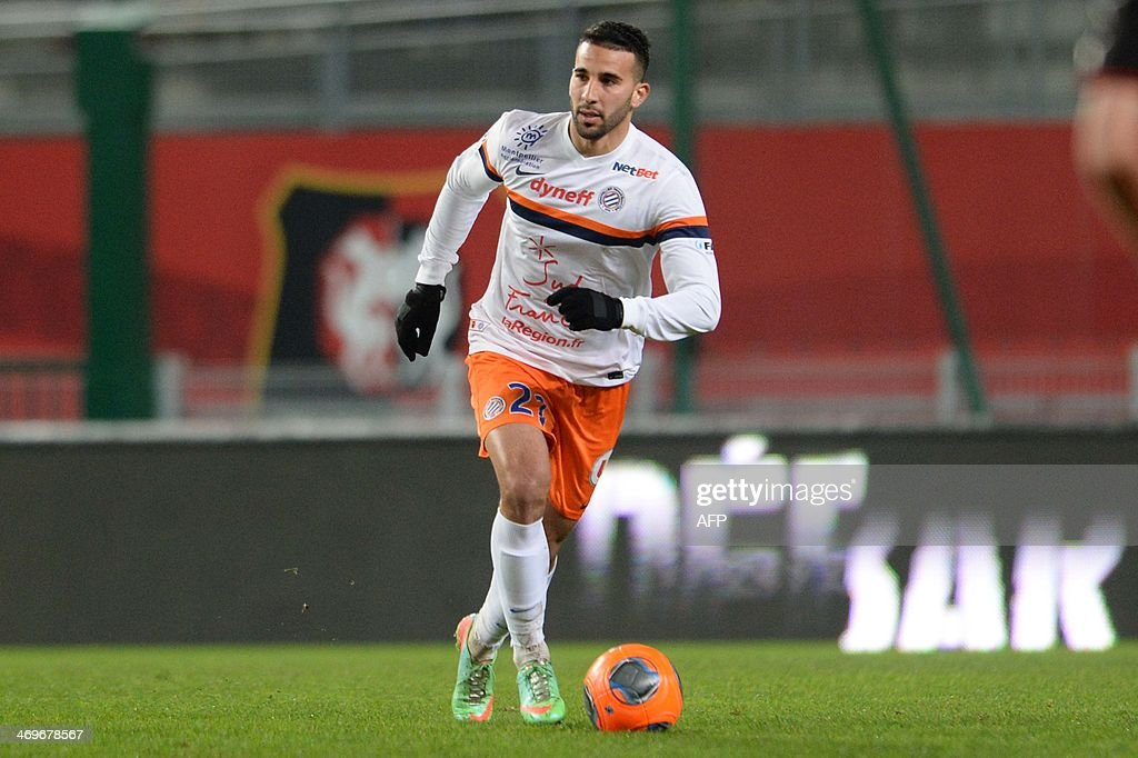 Montpellier's defender Abdelhamid El Kaoutari controls the ball during the French L1 football match between Rennes and Montpellier on February 15, 2014 at the Route de Lorient stadium in Rennes, western France.