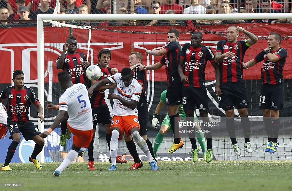 Montpellier's defender Siaka Tiene kicks the ball and scores a goal during the French L1 football match between Nice and Montpellier on September 1, 2013 at the Ray stadium in Nice, southeastern France.