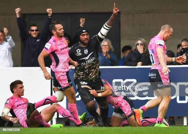 Montpellier's Fijian winger Nemani Nadolo reacts after scoring a try during the European Champions Cup rugby union match between Montpellier and...