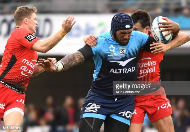 Montpellier's Fijian winger Nemani Nadolo runs with the ball during the French Top 14 rugby union match between Montpellier and Toulon on September...