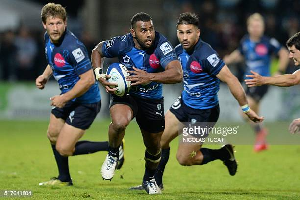 Montpellier's Fijian winger Timoci Nagusa runs to score a try during the French Top 14 rugby union match between Agen and Montpellier on March 26...